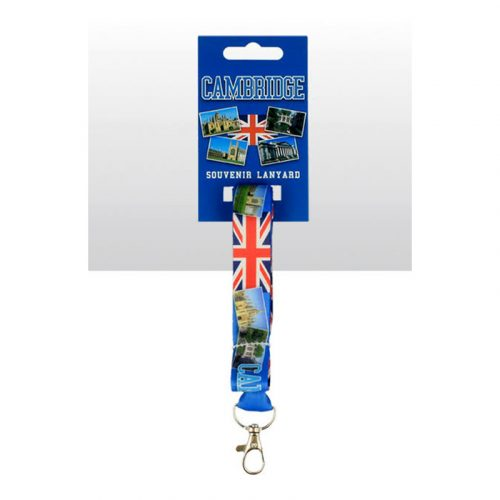 Cambridge lanyard with printed Union Jack and Cambridge scenes