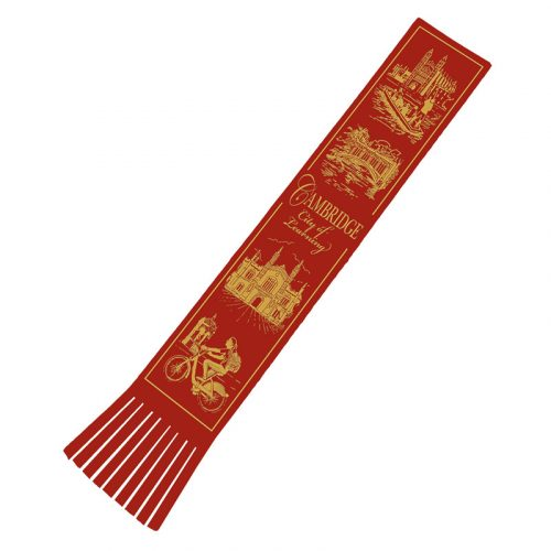 City of Learning red leather bookmark with gold lettering and illsutrations