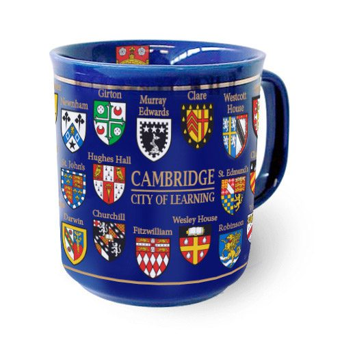 Cambridge college crests ona blue mug