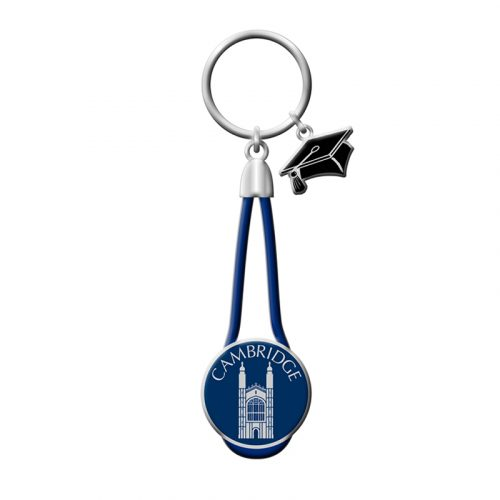 Keyring with a leather rope and kings college charm