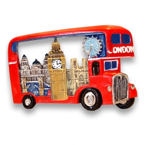 A london bus with a collage of London icons on the side