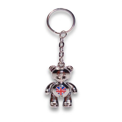 Keyring with a chrome metal bear with union jack heart on tummy