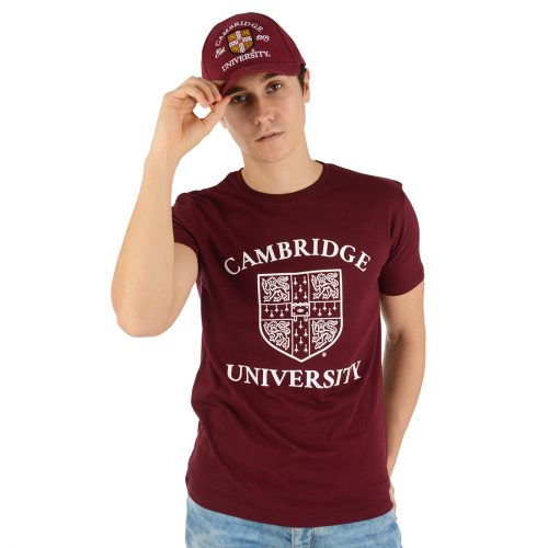 University of Cambridge Large Crest Printed T-Shirt - Maroon