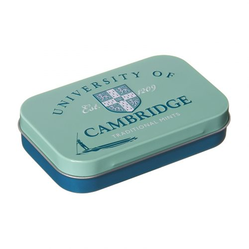 University of Cambridge mints in a blue tin