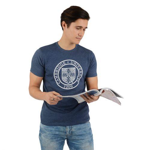 University of Cambridge Round Crest Printed T-Shirt - Navy Marl