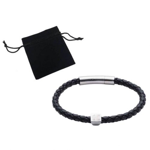 elizabeth-parker-University-of-Cambridge-black-leather-bracelet