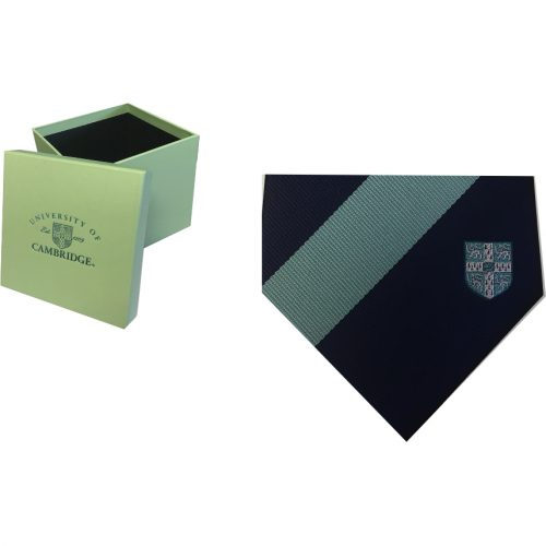 elizabeth-parker-University-of-Cambridge-blue-crest-single-stripe-tie