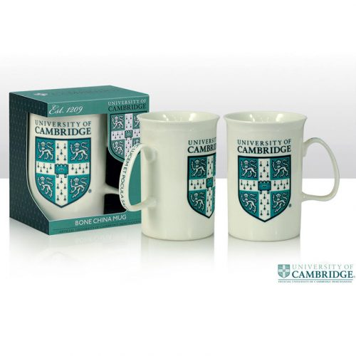 University of Cambridge green crest white mug