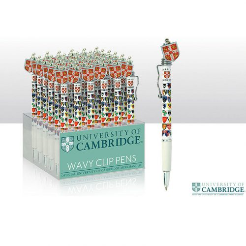 University of Cambridge white pen with college crests